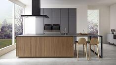 'Gris Tormenta' kitchen design by Dica Modern Kitchen Interiors, Luxury Kitchen Design, Kitchen Room Design, Contemporary Kitchen Design, Interior Design Kitchen, Kitchen Decor, Timber Kitchen, Loft Kitchen, Diy Kitchen Storage