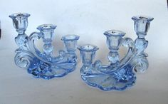 Each one holds three stick candles. Very lovely pieces. Glass Candle Holders, Candlestick Holders, Candlesticks, Candleholders, Candle Chandelier, Chandeliers, Blue Dishes, Tiffany Stained Glass, Fairy Lamp