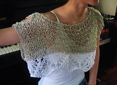 Boho Shrug Poncho White and Beige Top Sweater  Beach Wedding Stole Hippy chic Mother's Day