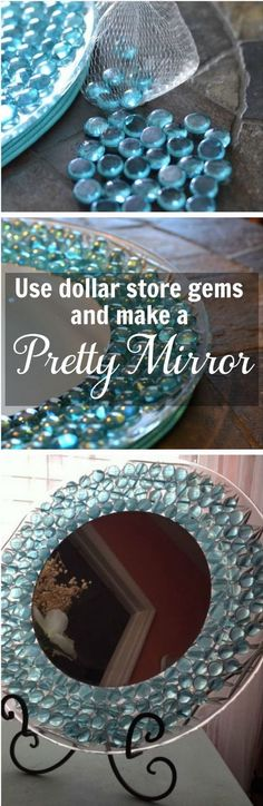 Beautiful Dresser Mirror Made with Dollar Store Gems