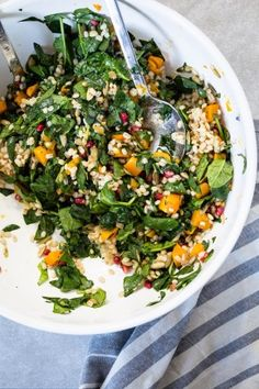 Butternut squash barley salad - put hot barley and squash on mixed salad to wilt it - also used craisins instead of pomegranate arils. Will make again