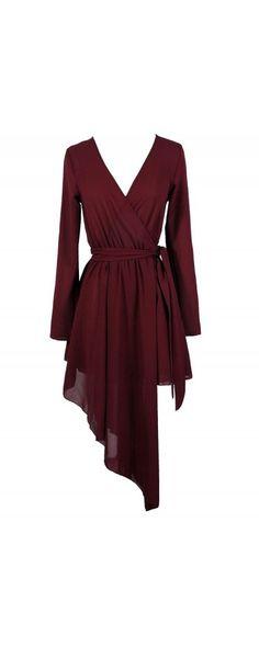 Cutting Edge Avant Garde Asymetrical Wrap Dress in Burgundy www.lilyboutique.com