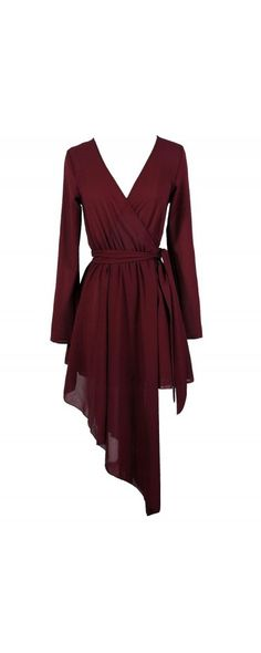 Cutting Edge Avant Garde Asymetrical Wrap Dress in Burgundy www.lilyboutique.com