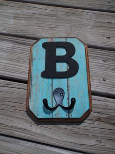 Monogram Letters Wood Wall Hook Plaque Turquoise Weathered Wood Alphabet A -Z Western Decor, Country Decor, Diy Wall Hooks, Bathroom Kids, Weathered Wood, Monogram Letters, Wall Plaques, Wood Design, Home Improvement Projects