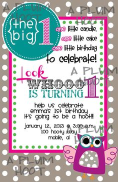 Owl 1st Birthday Party Invitation DIY by APlumHoot on Etsy, $12.00