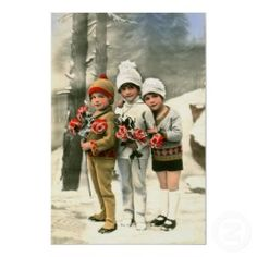 Three young French children print