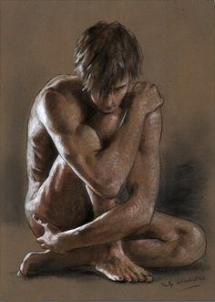 Philip Gladstone: Untitled (kneeling male nude), Mixed-media on paper