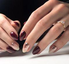 Oval Nails, Red Nails, Hair And Nails, Happy Nails, Fall Nail Art Designs, Colorful Nail Designs, Gorgeous Nails, Pretty Nails, Fingernails Painted