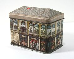 English Tin Tea Box   1985 by MysticLily on Etsy