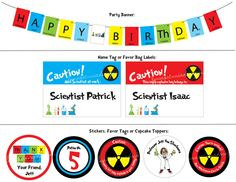 Mad Science Birthday Party banner, tags & stickers