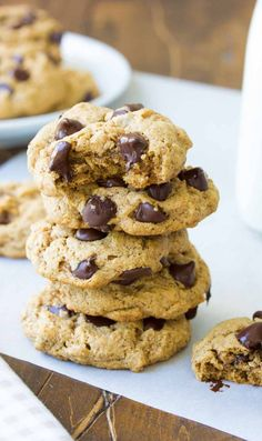 Soft and Chewy Almond Butter Chocolate Chip Cookies, made with oats and white whole wheat flour. A healthier cookie that tastes amazing!!
