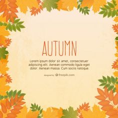 Free vector template with autumn leaves | Graphic design