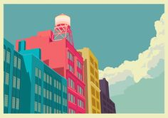 Illustrations of New York. Remko Heemskerk is a Dutch art director and illustrator. During his time in New York City in he created this colorful Lower East Side, New York Illustration, Character Illustration, Art Actuel, New York Architecture, Beautiful Architecture, Poster Design, Print Poster, Poster Wall