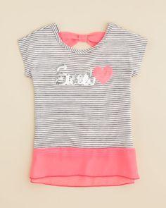 Lily Bleu Girls' Sweetheart Stripe Tee - Sizes 4-6X