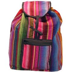 Guatemalan Hippie Inspired Backpacks.  $29.95            Hand made in Guatemala these 16 X 14 X 3 backpacks feature a classic design with the back straps being adjusted by a tie knot instead of adjustable straps. ( See pictures ) This unique design gives you the option of one or two straps. The inside is fully lined and has a pu...