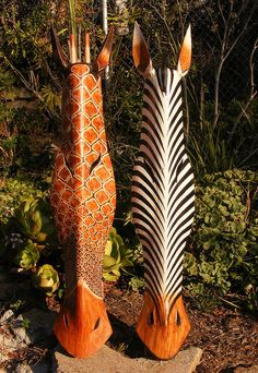 "Giraffe and Zebra Set of 2 Wood Mask Carving Safari Jungle Home Decor 40"" x 9"" in Collectables, Animals, Wild Animals 