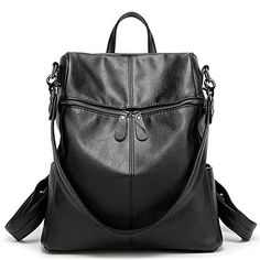 Women  Girls PU Leather Backpack Purse Fashion Casual Shoulder Bag Black -- Click on the image for additional details.
