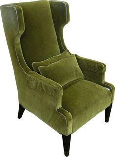 Olive Green Wingback Chair - gorg barva sametu zidli do haly