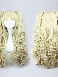 Cute Lolita Long Curly Blonde Synthetic Hair Cosplay Wigs 28 Inches