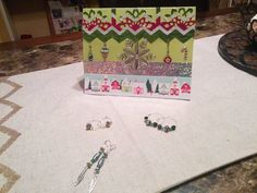 Christmas card and earrings made by KPM