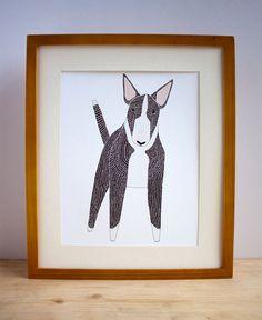 English Bull Terrier Illustration Bull Terrier art Pet by Gingiber