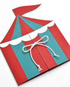 Carnival Tent Handmade Birthday Party Invitation
