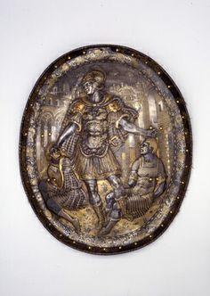 Schild / Garnitur bestehend aus Birnhelm und Schild   Mailand. Um 1570.