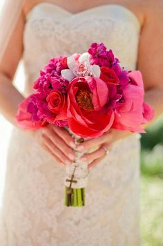 Bride's Beautiful Hot Pink, Magenta + Fuchsia Bouquet: Peonies, Roses, Orchids