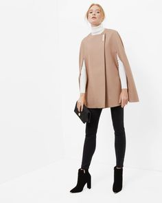 Minimalist metal clasp cape - Camel | New Arrivals | Ted Baker