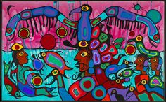 Canadian Aboriginal Art: Norval (called Copper Thunderbird) Morrisseau, Artist and Shaman between Two Worlds acrylic on canvas, 175 x 282 cm, Copyright Norval Morrisseau / Gabe Vadas. Courtesy of Kinsman Robinson Galleries, Toronto. Inuit Kunst, Art Inuit, Native American Artists, Canadian Artists, National Aboriginal Day, Art Quotidien, Kunst Der Aborigines, Art Du Monde, Aboriginal Artists
