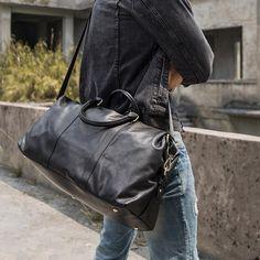 """Black Leather Mens 16"""" Weekender Bag Travel Shoulder Bag Black Luggage Duffle Bag for Men"""
