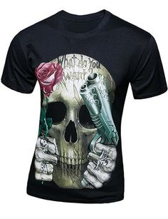Rose Girl Skull Men T-shirt XS-5XL New