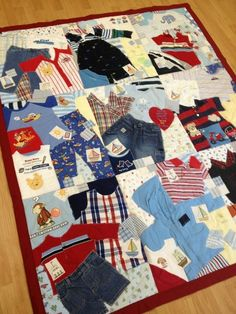 Baby's first year quilt, made from his own clothing.. SO CUTE!!