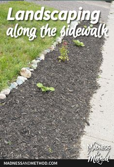 Looking to add landscaping along the sidewalk? This simple project can be completed in a short time, just make sure to prevent future weeds! Outdoor Projects, Easy Projects, Bags Of Mulch, Black Mulch, Yard Maintenance, Building Raised Garden Beds, Dug Up, Small Fence, Front Walkway