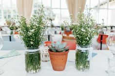 Jar Flowers Lace Daisy Succulents Pots Rural Handfasting Village Hall Wedding http://www.annapumerphotography.com/