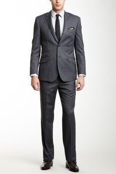 Grey Stripe Two Button Notch Lapel Wool Suit//