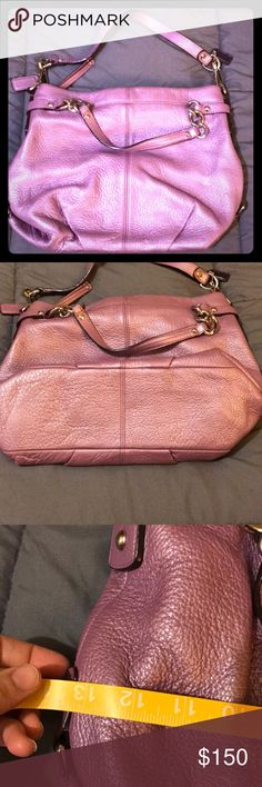Lilac leather coach purse Shimmery Lilac Coach purse. 11in tall with a base that's 14x3.75in. Has two strap options. Lavender satin interior does have a few stains and there is a mark on the bottom of the purse that's hard to see. This purse cannot be wiped with a damp cloth or it may remove the shimmer *per care instructions from my boss at Coach. Coach Bags Shoulder Bags