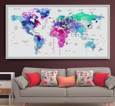 Large push pin map print, World map push pin, Personalized Executive World Travel Map, Travel Map (L67)