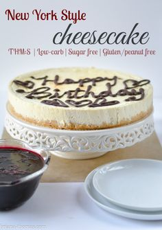 New York Style Cheesecake (I edited my old post with new pictures and some recipe tweaks.  Included are recipes for chocolate decorations as well as a blueberry sauce for topping the cheesecake, if desired).  THM:S, Low-carb, Sugar free, Gluten/peanut free