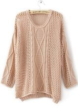 Cheap Sweater Website. Pink Round Neck Long Sleeve Hollow Striped Sweater $32.00
