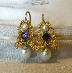 Victorian 15ct Gold Amethyst & Pearl Earrings #antiques #jewellery #amethyst