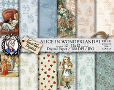 Alice in Wonderland Digital Papers 3: Printable collage sheet, toile patterns, journal Scrapbooking paper Photography back drop John Tenniel