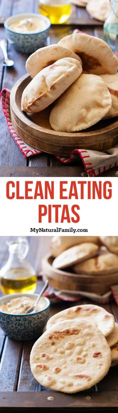 I love pitas and they are so much better homemade. These were so good with a Tzatziki chicken salad pita. Pita Recipes, Detox Recipes, Greek Recipes, Clean Eating Recipes, Cooking Recipes, Paleo Recipes, Bread Alternatives, Pizza, Clean Eating Diet