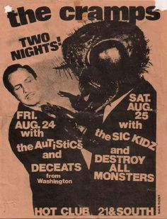 The Cramps, Sick Kids, The Autistics 2 nights at Hot Club. Rock Posters, Band Posters, Concert Posters, Event Posters, Music Posters, Punk Poster, Gig Poster, Concert Rock, Music Flyer