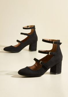 Straps, Perhaps Block Heel in Black, #ModCloth