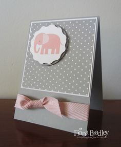 Just Spiffing: Simple Baby Elephant - Stampin' Up! - Pootles CASE - Zoo Babies - Chevron ribbon