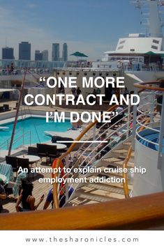 """""""One more contract and I'm done."""" - Insight into what cruise ship employment is all about and just how addictive it can be. Best Cruise, Cruise Vacation, Vacations, Massage Deals, Transatlantic Cruise, Cruise Offers, Travel Jobs, Norwegian Cruise Line, Alaskan Cruise"""