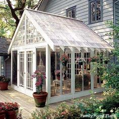 In Porch Plans to Build or Modify .screened porch with plastic panels for roof offers the look of a conservatory.screened porch with plastic panels for roof offers the look of a conservatory. Porch Greenhouse, Greenhouse Plans, Greenhouse Frame, Small Greenhouse, Greenhouse Attached To House, Greenhouse Wedding, Underground Greenhouse, Portable Greenhouse, Screened In Porch Plans