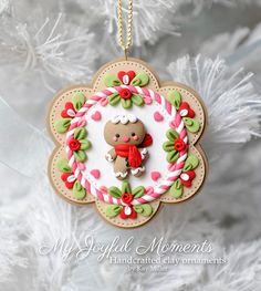 Handcrafted Polymer Clay Gingerbread man Ornament
