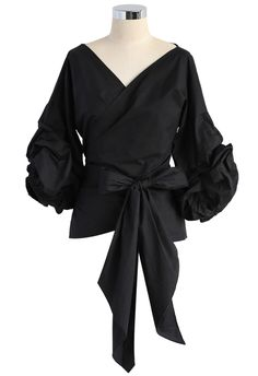 Enchanting Echo Wrapped Top in Black - Buyer's Pick - Retro, Indie and Unique Fashion